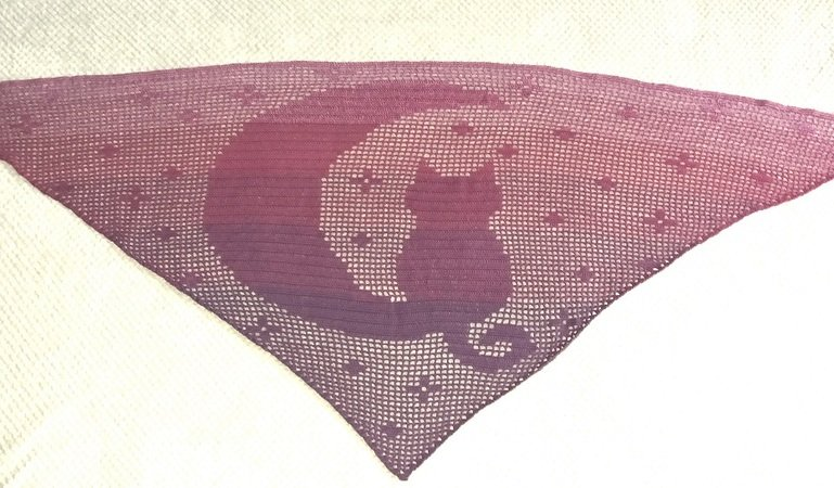 Cat and Moon Triangular Shawl