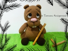 crochet pattern Sweet beaver stuffed animal PDF ternura amigurumi english- deutsch- dutch