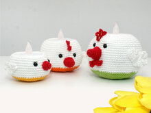 Tealight Holders - Chickens - Crochet Pattern