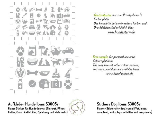 Planner stickers for dog journal, icons S3005s