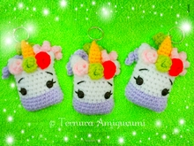 Crochet pattern unicorn keychain PDF ternura amigurumi english- deutsch- dutch