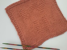 Knitting pattern square I love you