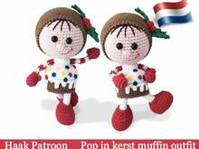 172NLY Crochet Pattern - Pop in kerst Muffin outfit - Christmas Amigurumi PDF file by Stelmakhova CP