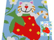Häkelmuster * StrawberrY CAT * Grafik für C2C Decke