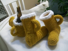 Crochet Slippers Beer, Crochet Beer MItt