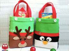 247 Crochet Pattern - Pinguin and Reindeer Bag for Christmas presents or New Year - PDF file by Zabelina CP