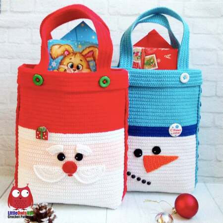 248 Crochet Pattern - Santa and Snowman Bag for Christmas presents or New Year - PDF file by Zabelina Etsy