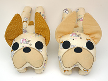 pattern sewing instruction for a french bulldog plush dog