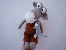 Donkey crochet pattern with mini cat
