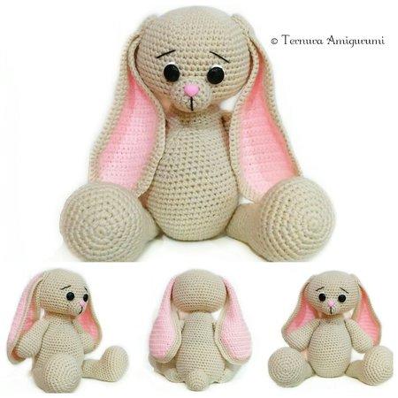 Pretty Bunny amigurumi in pink dress - Amigurumi Today | 450x450