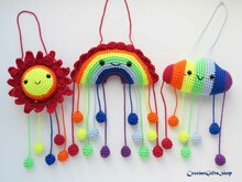 Amigurumi Rainbow and Raindrops, Sun, Cloud Set Crochet pattern