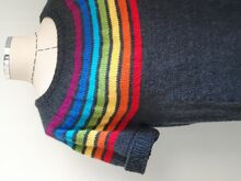 Somewhere Rainbow Sweater - circular yoke seamless top down sweater