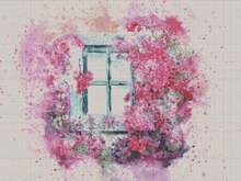 Summer cross stitch pattern window with flowers