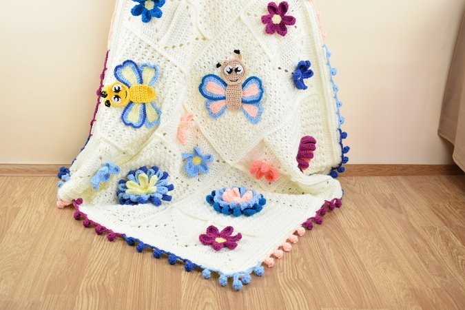 "Crochet ""Blooming Spring"" blanket with big 3D flowers, small flower applques and cute butterflies appliques"