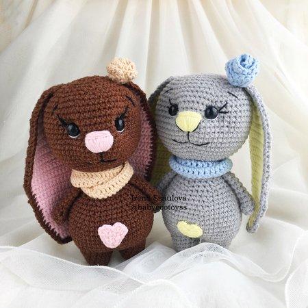 Plush Bunny amigurumi: crochet toy pattern | Amiguroom Toys | 450x450