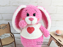 Crochet Amigurumi pattern Bunny Peachy with knitting jacket