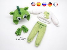 Pattern Crochet Outfit for Doll in dinosaur pajamas