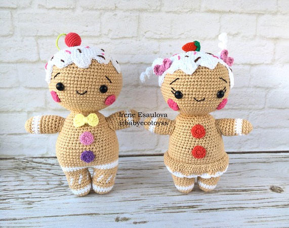 Crochet Amigurumi pattern Gingerbread man and girl toys