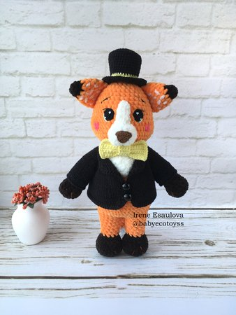 Crochet and Knitting Amigurumi Pattern Plush Fox Ferdy in outfit