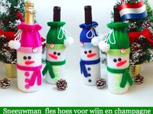 153NLY Brei patroon - Sneeuwman fleshoes voor wijn of champagne - by Zabelina CP