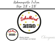 Button Schulkind 2020 7x7