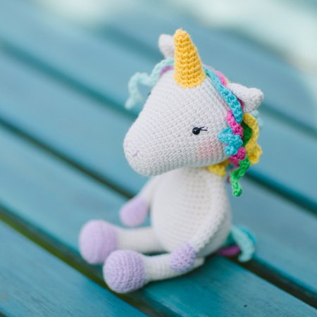Unicorn plush doll isolated on white background. A crochet doll of ... | 450x450