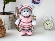 Crochet Amigurumi pattern Cat Kitty Lily in outfit
