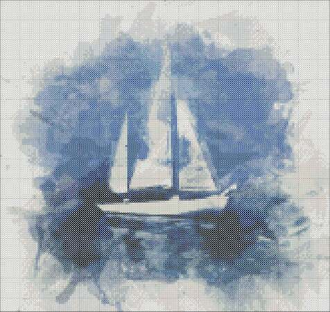 Sailboat cross stitch pattern for embroidery