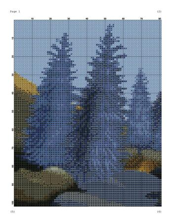 Landscape cross stitch pattern for embroidery
