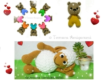 Crochet pattern bears + sheep Ternura Amigurumi English - Deutsch - Dutch