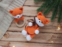 Crochet pattern 2 in 1 Amigurumi fox and rattle