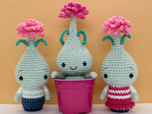 Set Crochet Pattern Amigurumi Flower spring Colchicum bulb and Baby doll Colchicum boy and girl