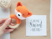 Crochet pattern Baby rattle Fox
