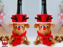 258 Crochet Pattern - Reindeer - wine or champagne bottle sleeve - PDF file by Knittoy CP