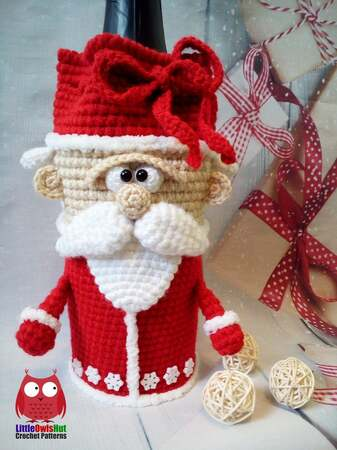 259 Crochet Pattern - Santa - wine or champagne bottle sleeve - PDF file by Knittoy CP