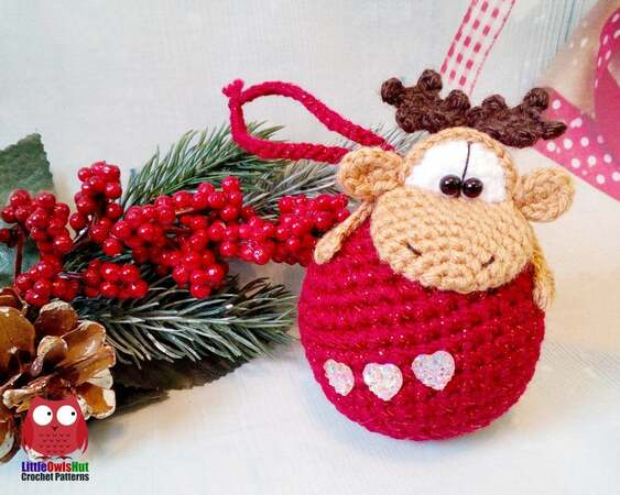 261 Crochet Pattern - Moos or Reindeer on a bauble - Amigurumi PDF file by Knittoy CP