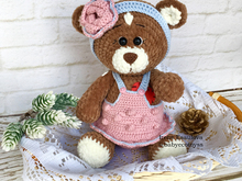 Crochet amigurumi pattern Plush Bear Brownie in outfit
