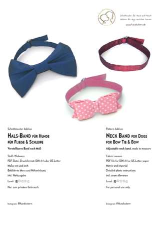 Neck band for dog bow tie or bow, Add-on sewing tutorial