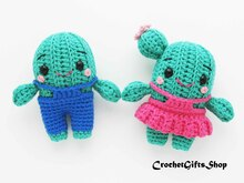 Set Crochet Pattern Cute Amigurumi Cactus in Overalls