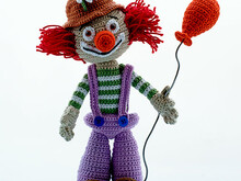Clown Fred Funny, amigurimi pdf pattern figure circus by Katja Heinlein Häkelanleitung people kids birthday file crochet tutorial ebook