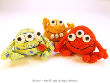 amigurumi PDF crochet pattern Grusel Kids by Katja Heinlein, tutorial fantasy, monster, ebook kids toy stuff file halloween