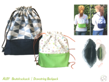 ALBY Drawstring Backpack, lined, 2 sizes, sewing pattern