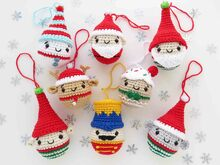 Set of 8 Crochet Pattern Christmas Ornament Santa Claus and Best Friends