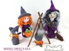 Halloween Witches and Cat, Amigurumi Crochet Pattern with cookingpot