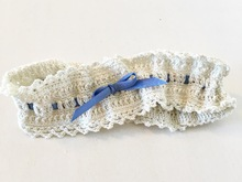"Pattern Wedding Garter ""Something Blue"""