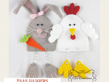 Easter Wall Decoration, Crochet Pattern, Bunny and Chicken