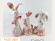 Easter Trio, Amigurumi Crochet Pattern, Chicken, Bunny and Lamb