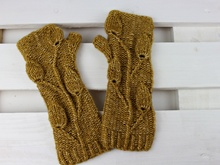 "Knitting pattern fingerless gloves ""Golden Leaves"""