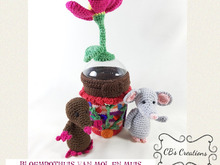 Flowerpot House of Mole and Mouse, Amigurumi Crochet Pattern