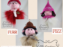 Funnies Fizz, Fezz and Furr, Crochet Pattern, with fur pompon